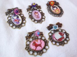 Kawaii Cameo Brooches by AndyGlamasaurus