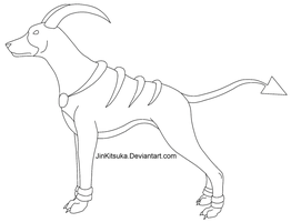 Free Houndoom Line Art by JinKitsuka