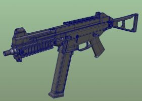 High-poly HK UMP .45 WIP by 3DFunkee