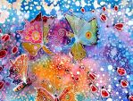 Batik Butterfly and Lady Birds by dawndelver