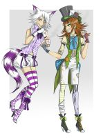 hatter and cat original outfits. by FoxKey