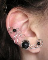 Black Orb ear cuff by lavadragon