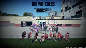 100 Watchers Thank You Everyone!!! by theblakschettysoulja