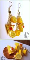 Polymer Clay Lemon Pie Earrings by Talty