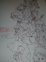 Persona 3 cast lineart by ansem-the-dead