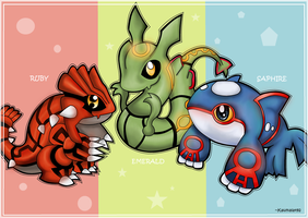 Chibi Kyogre,Groudon,Rayquaza by Km92
