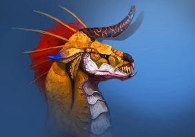 unhappy dragon head by unded
