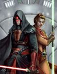 Darth Revan and Bastila Shan by IcedWingsArt