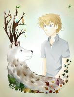 Oscar and deer wolf tree thing coloured by wolfspiritsd