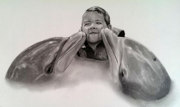 Kid Number 2 with Dolphins by Jon-Wyatt