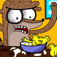 AHH DUCKS IN MAH CEREAL by sclirada