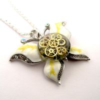 Clockwork butterfly pendant - watch gears in resin by SteamSect