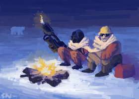 Team Fortress 2: Enigeer + Pyro by Snashyle