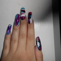 Long Nails: Purple, black, pink and blue by Agathanaomi