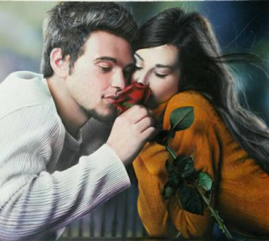 Portrait made with airbrush and crayons by SimonaZ