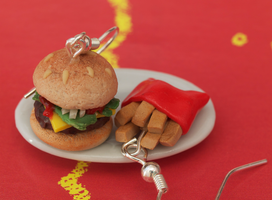 Burger and Fries Earrings by DeliciousTrickery