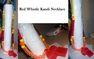 Red Whistle Kandi Necklace by anne-t-cats