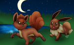 Pokemon: Vulpix and Eevee by SahGlam29