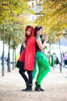 Steampunk Harley Quinn and Poison Ivy by bellajynx