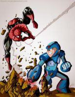 Spiderman vs Megaman by Master-Angel