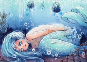 aceo lonely mermaid by MIAOWx3