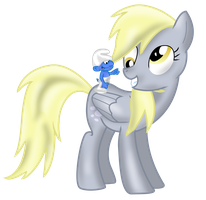 Best Friends: Clumsy Smurf and Derpy Hooves by RadSpyro