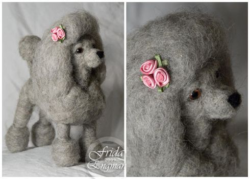 Needle felted poodle by Cemina