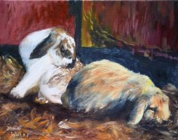 Bunnies in oils by Wulff-Arts