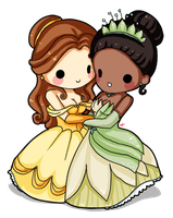 Belle and Tiana by Yoshiebutt