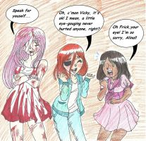 Art Trade- Those Crazy Gals by FunnyLover13