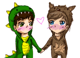 Dino Darren and Llama Chris :D by georgiatheninja