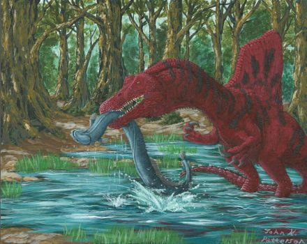 100th Deviation - Spinosaurus and Giant Eel by Tyrannosaur17
