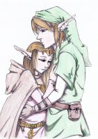 Link And Zelda, embrace by starnova63