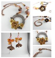 Vintage Copper Crystal Flower Necklace by DryGulchJewelry