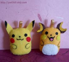Pikachu and Raichu plushies