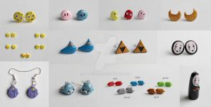 Anime and Game Polymer Clay Stud Earrings by ArtzieRush
