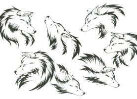 Wolf Head Tattoos by CaptainMorwen