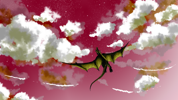 Soaring Green Dragon red hue by CursedSeraphim