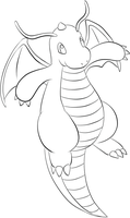 149 Dragonite Lineart by lilly-gerbil