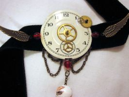Antiqued time choker by Gothic-Enchantress