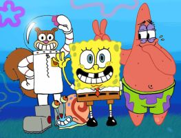 Spongebob and his best friends by LazyAsHell