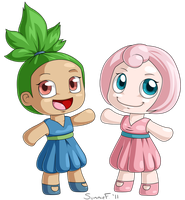 Oddish and Jigglypuff Gijinkas by SunnieF