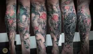 Geisha asia style final color healed by 2Face-Tattoo