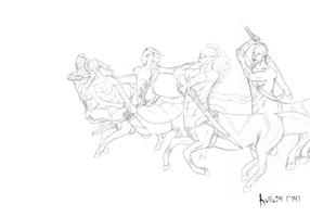 Centaurs' charge by Kalia24