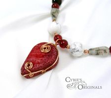 Red Sponge Coral necklace Close up by cybelemoon