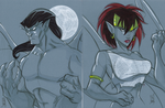 Warm Up 2-22, Goliath and Demona from Gargoyles by Hodges-Art