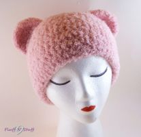 Pink plush bear hat by SailorMiniMuffin