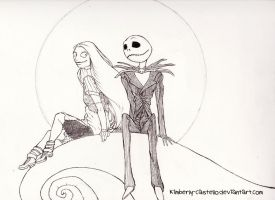 Disney: Jack and Sally Line-art by kimberly-castello