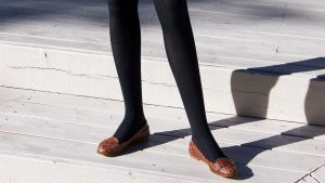 Nadia's Classic Penny Loafers and Black Tights by peerlesspenny