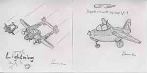 P-38 and Me 263 V-1 by InsaneSamantha